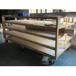 Mobile wooden, 5 shelf stock storage rack