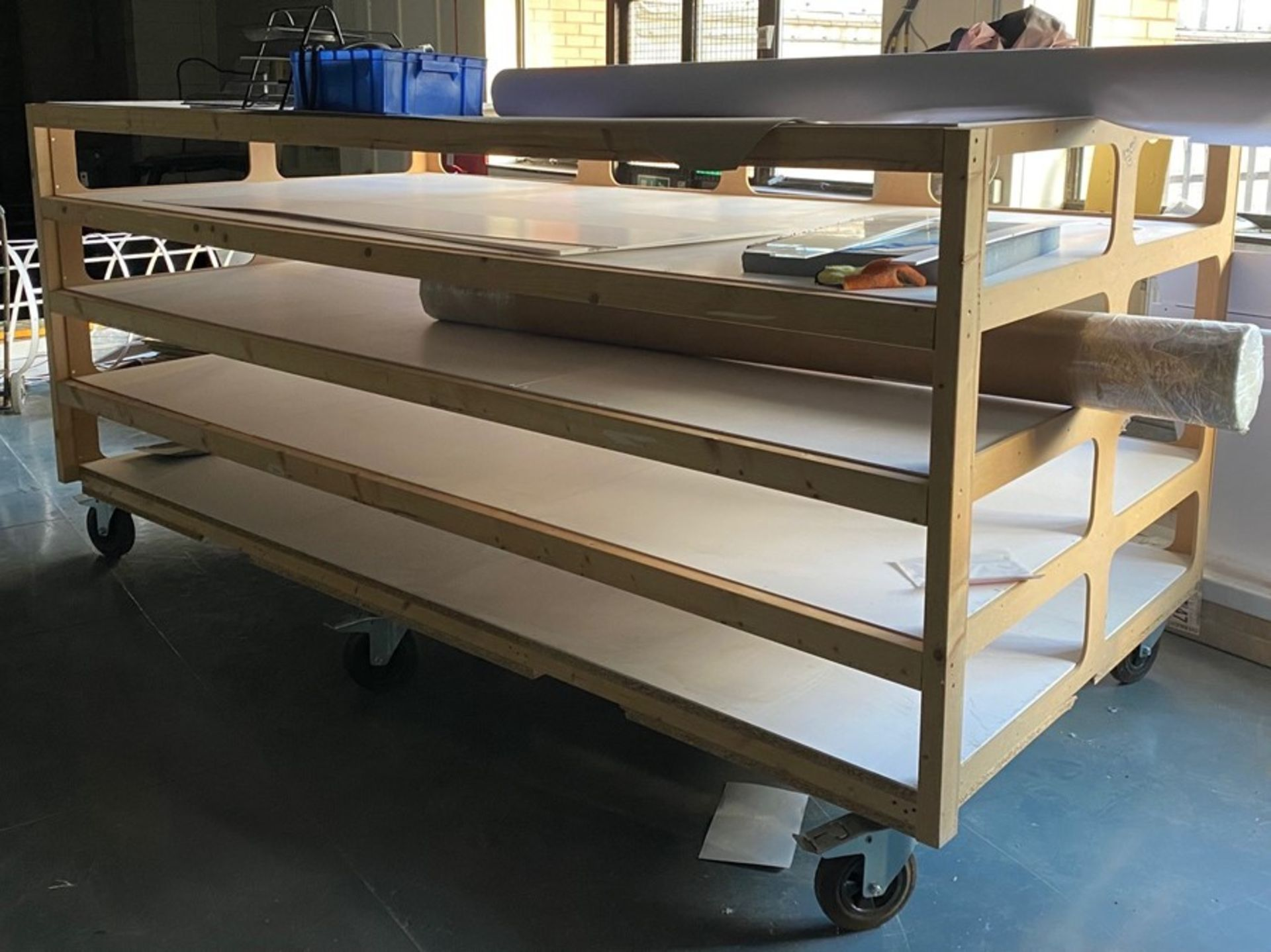 Mobile wooden, 5 shelf stock storage rack