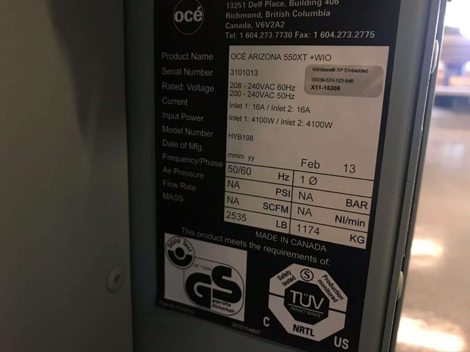 Oce Arizona 550XT + WIO UV flatbed printer (2013) - Image 7 of 22