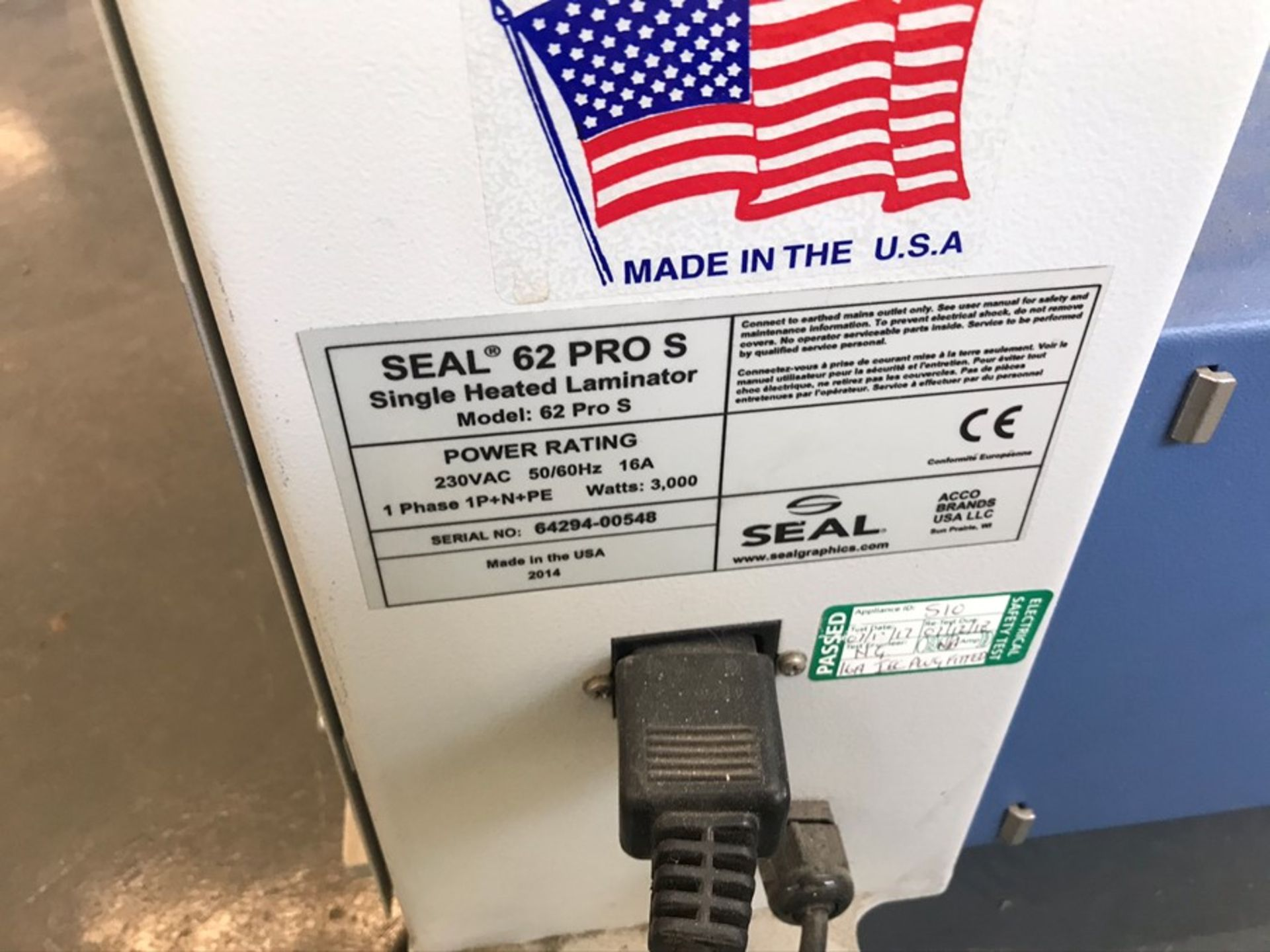 Seal 62S single heated laminator (2014) - Image 5 of 7