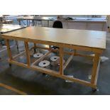 2 mobile wooden two tier cutting out tables