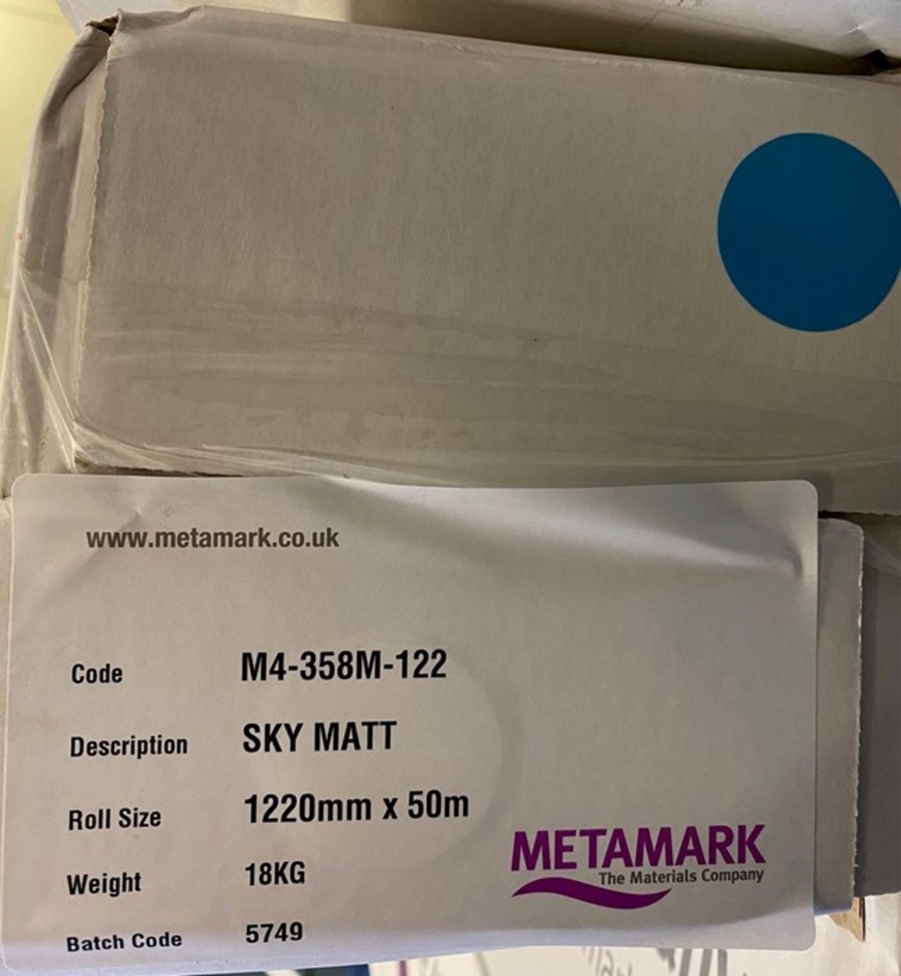 8 rolls of Metamark M4-358M-122 Sky Matt Vinyl - Image 2 of 2