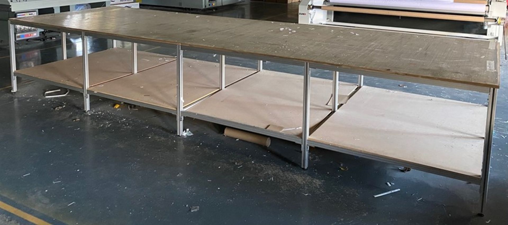 4 bay aluminium framed, wooden topped two tier cutting out table