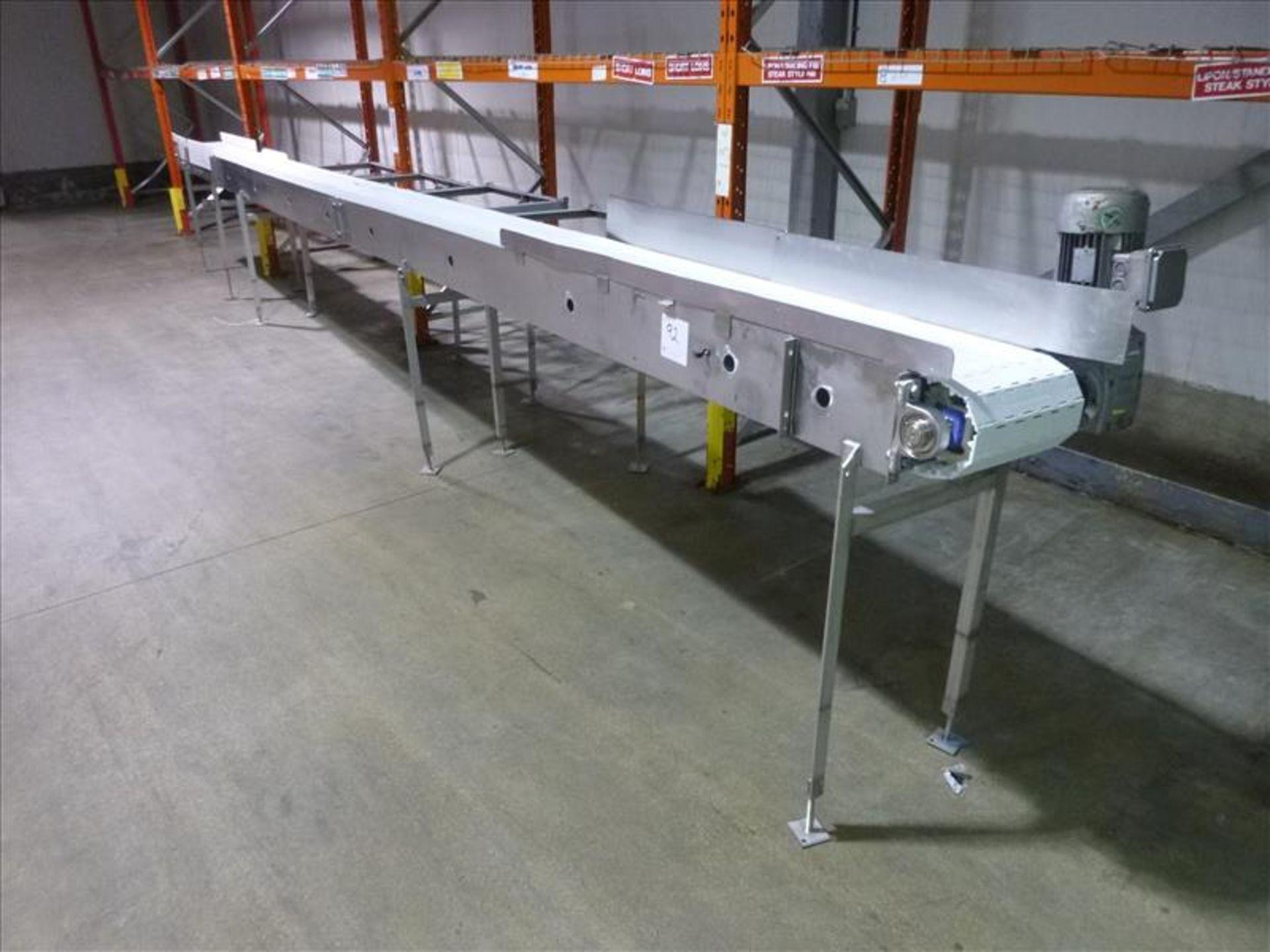 Lot 92 - s/s powered interlox belt conveyor, approx. 12 in. x 26 ft., 1.5 hp