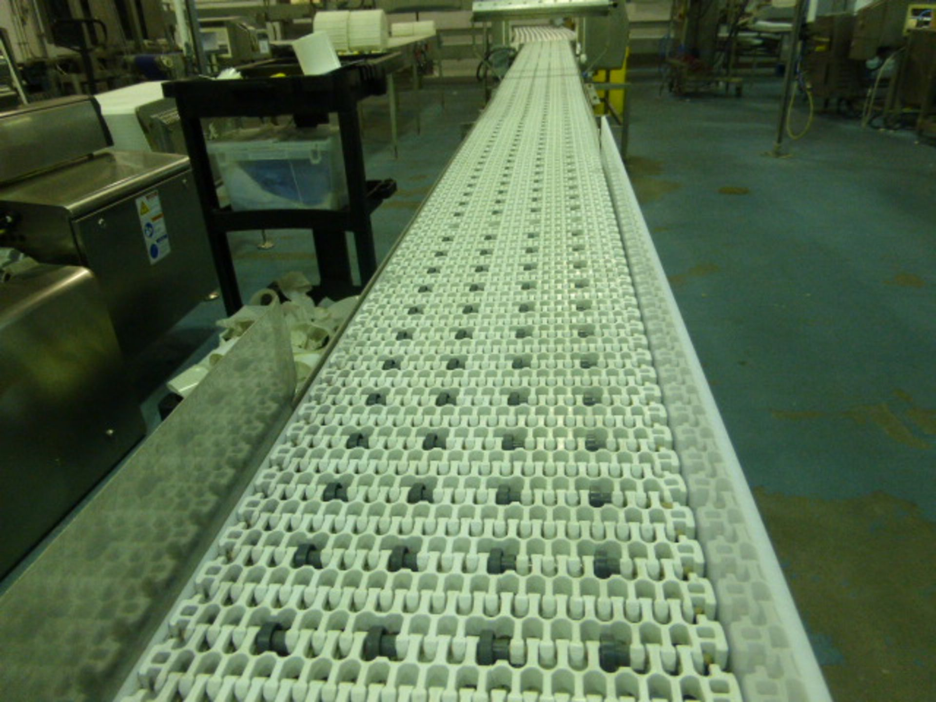 Lot 32 - s/s transfer conveyor with plastic belting, 10 in. x 24 ft.