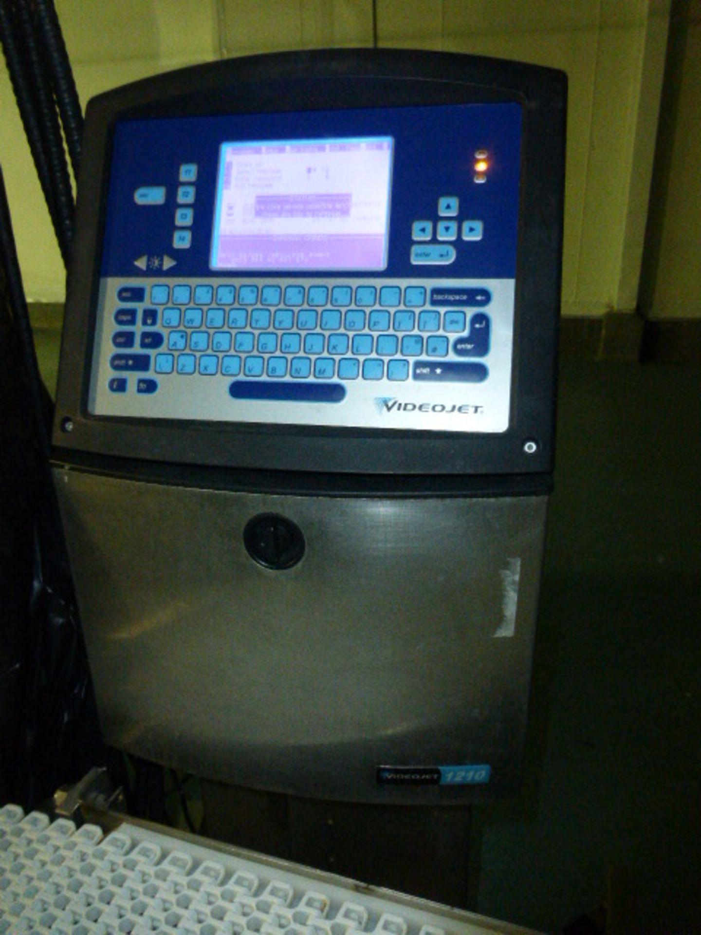 Lot 62 - VideoJet date coder, mod. 1210, ser. no. 1030736C10ZH w/ plastic belt transfer conveyor, 10 in. x 48