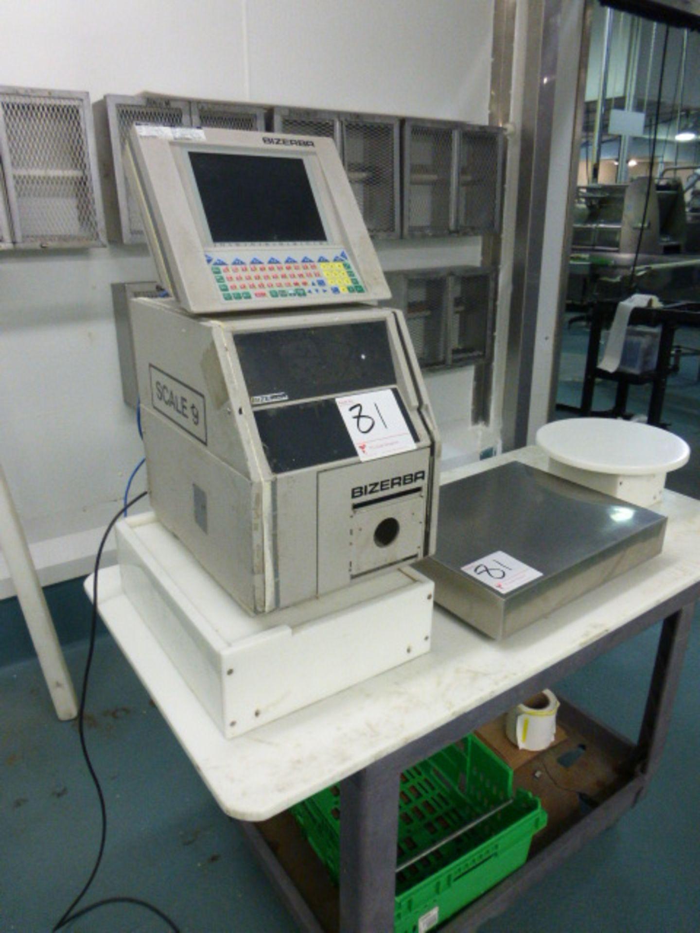 Bizerba check-weigher system w/ Bizerba GS label printer ser. no. 1945663 and Bizerba AB controller,