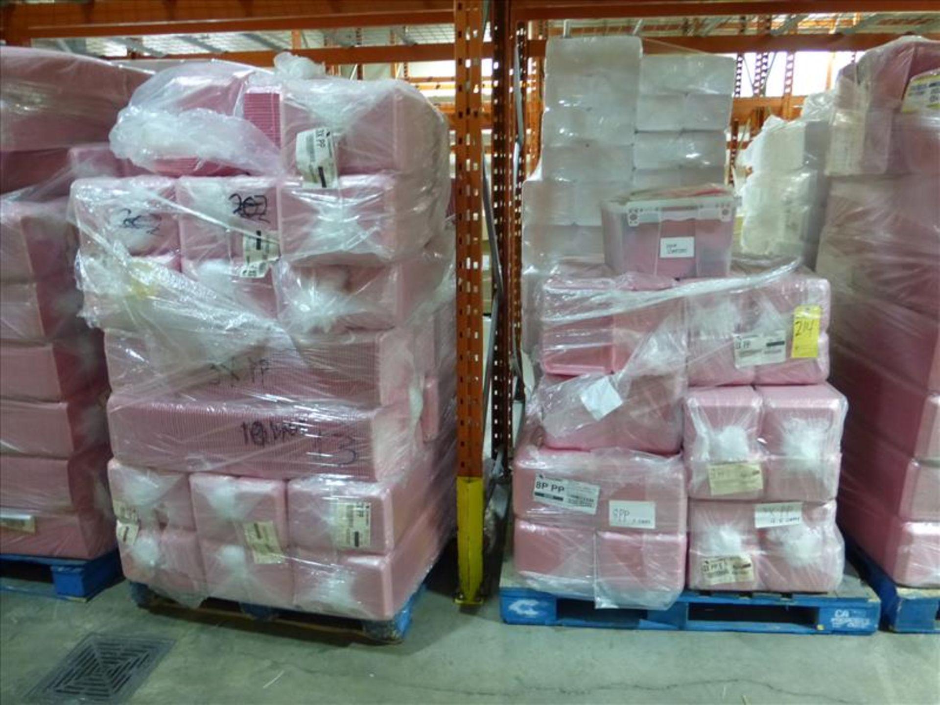 Lot 214 - (16 bundles, 6400) 3 x PP overwrap foam trays, Cascade, pink