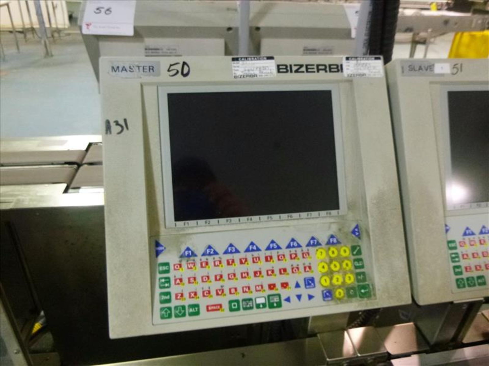 Lot 50 - Bizerba in-line check-weigher system (MASTER) w/ Bizerba GS label printer and Bizerba AB controller,