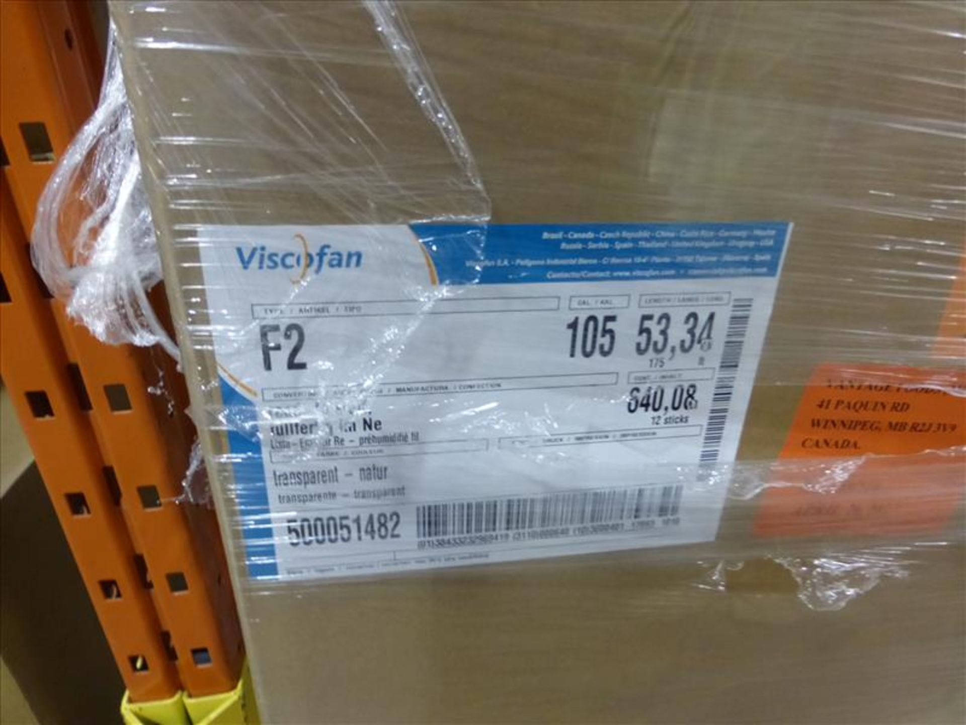 Lot 242 - (41 cases, 492 sticks) Viscofan, clear shirred casings, caliber 105