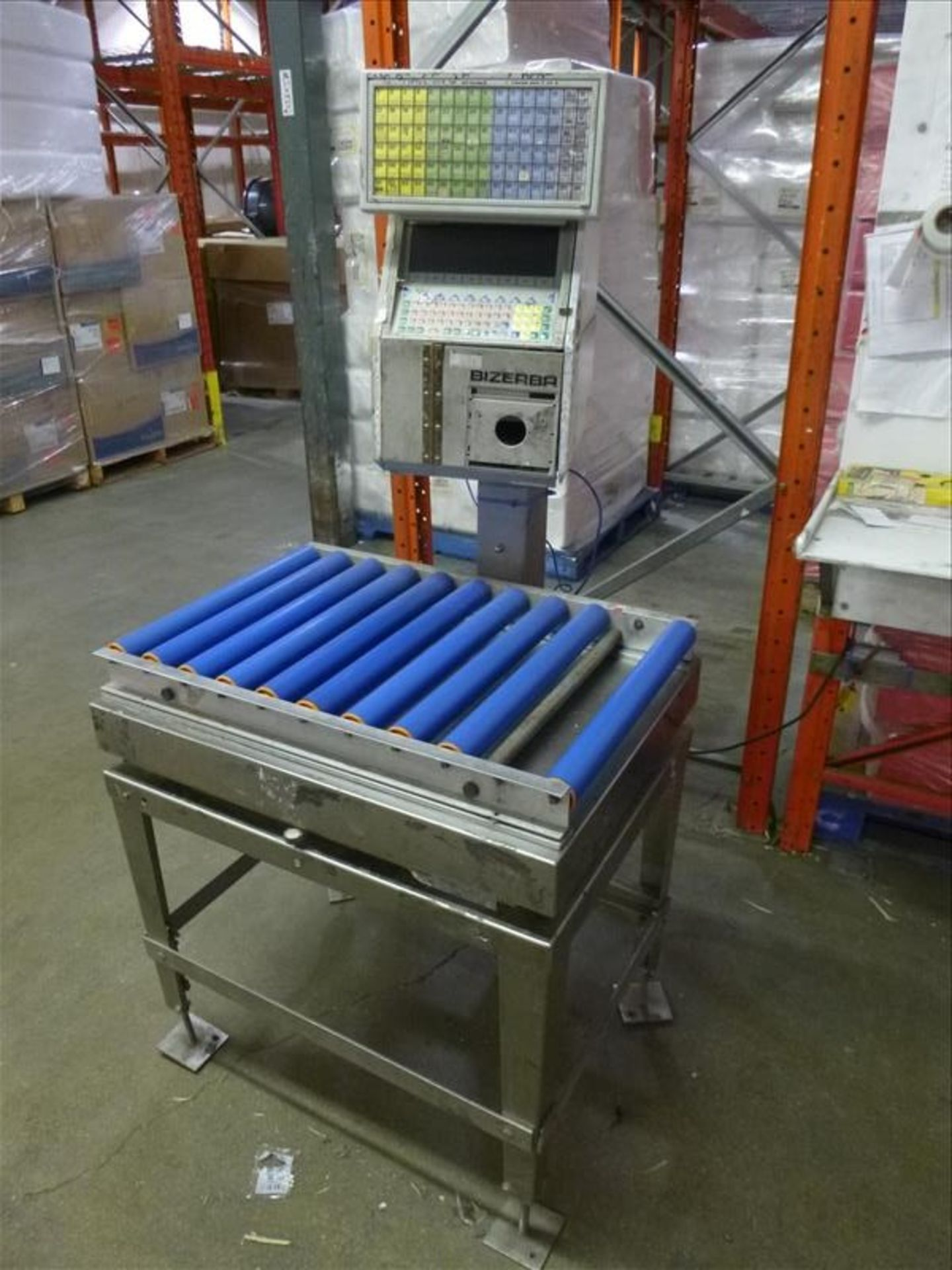 Lot 93 - Bizerba in-line check-weigher system, mod GH, ser. no. 1956256 c/w s/s platform/rollers, 23 in. x 31