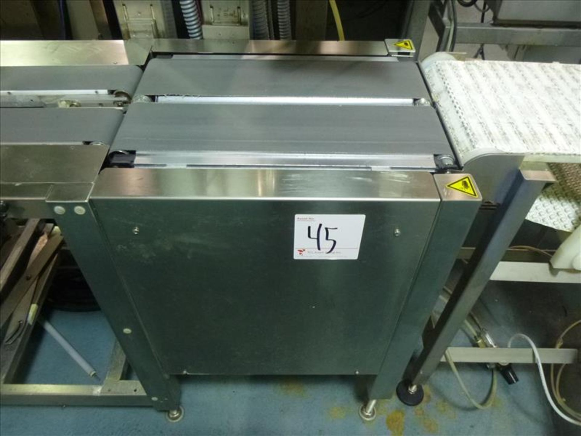 Lot 45 - Bizerba in-line check-weigher system (SLAVE2) w/ Bizerba GS label printer, ser. no. 1960605 and