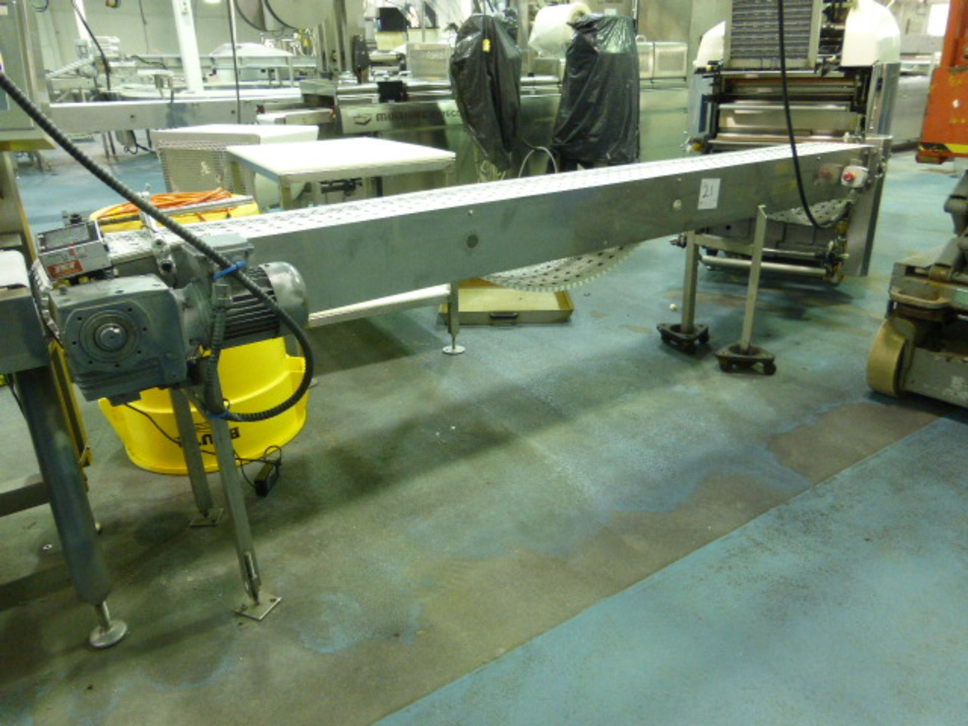 Lot 21 - s/s transfer conveyor with plastic belting, 8 in. x 12 ft.