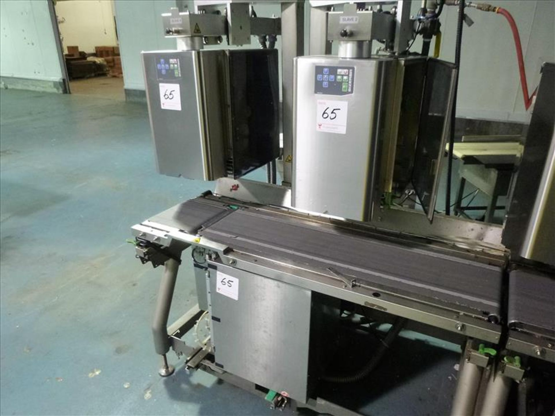 Lot 65 - (3) Bizerba labelers (2-top and 1-bottom), p/n 5484701002, ser. no.s 10835238, 10835240 and 10835239