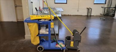 Misc. Cleaning Supplies, Global Industrial Cart, mops, bucket, and wet floor signs.