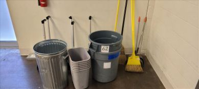 Misc. Cleaning Supplies, brooms, dust pans, and trash bins.