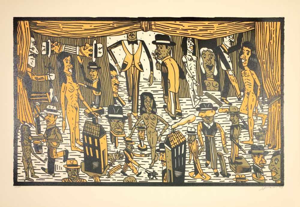 Lot 56 - Antonio Segui - Théâtre de la ville II, 1992Lithographie originale sur papier BFK RivesSignée au