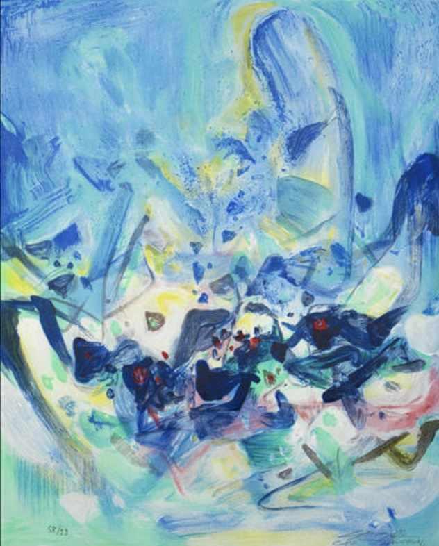 Lot 14 - Chu Teh-Chun - Saison bleue, 2006 Lithographie originale en couleurs sur papier RivesSignée à la