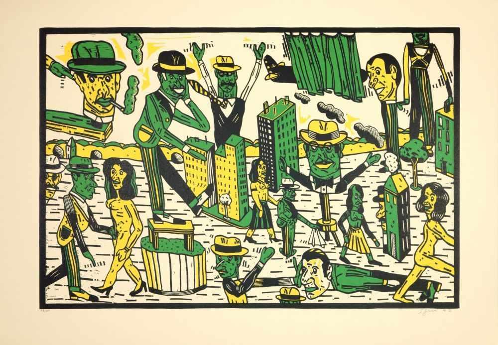 Lot 57 - Antonio Segui - Théâtre de la ville III, 1992Lithographie originale sur papier BFK RivesSignée au