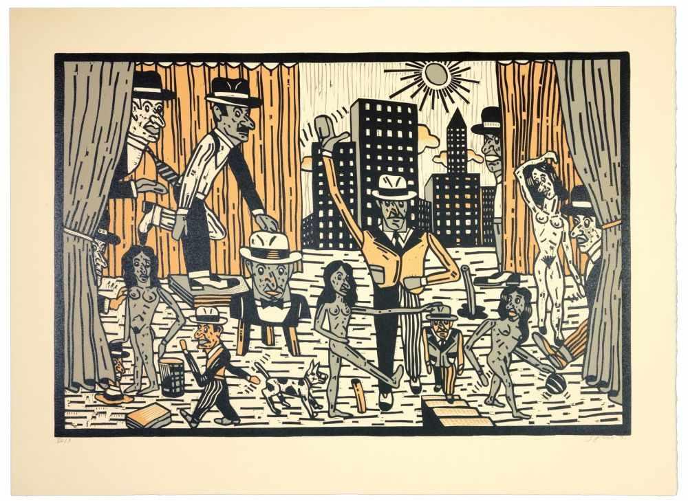 Lot 55 - Antonio Segui - Théâtre de la ville I, 1991Lithographie originale sur papier BFK RivesSignée au