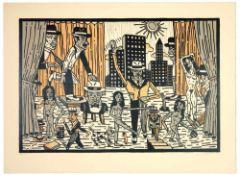 Antonio Segui - Théâtre de la ville I, 1991Lithographie originale sur papier BFK RivesSignée au