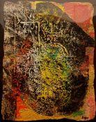 Ladislas Kijno - CompositionAcrylique sur papier froisséSignée à la mainPièce unique, encadrée25 x