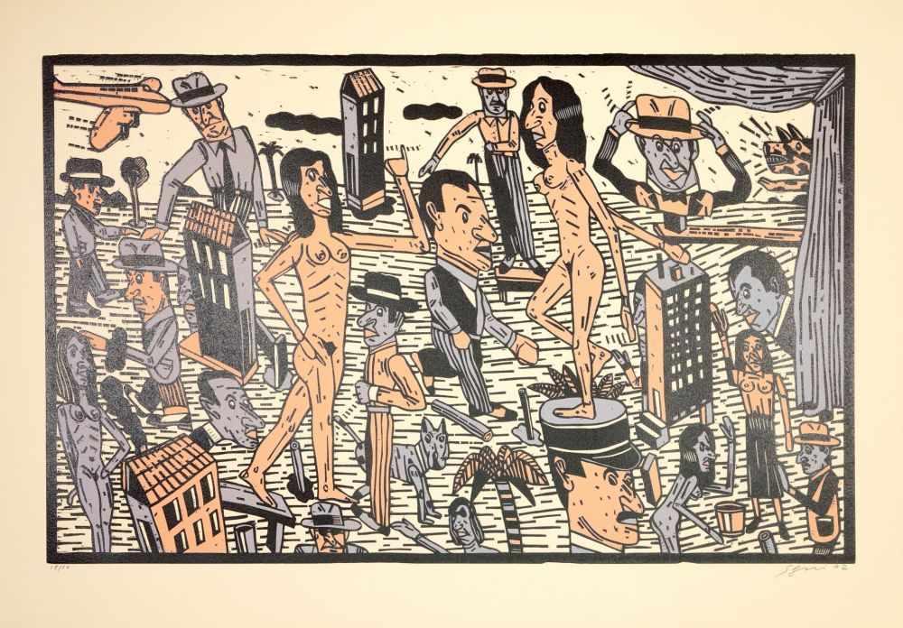 Lot 58 - Antonio Segui - Théâtre de la ville IV, 1992Lithographie originale sur papier BFK RivesSignée au