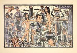 Antonio Segui - Théâtre de la ville IV, 1992Lithographie originale sur papier BFK RivesSignée au