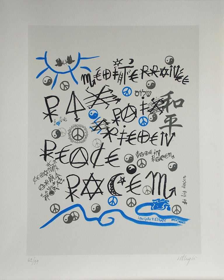 Lot 59 - Jacques Villegle - La PaixSérigraphie originale sur papier vélin d'ArchesSignée au crayon et