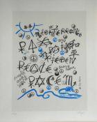 Jacques Villegle - La PaixSérigraphie originale sur papier vélin d'ArchesSignée au crayon et