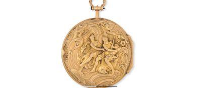 A gold key wind pair case pocket watch with repoussé decoration
