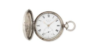 A silver key wind full hunter pocket watch with duplex escapement