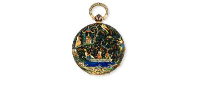 A gold and enamel decorated key wind open face pocket watch