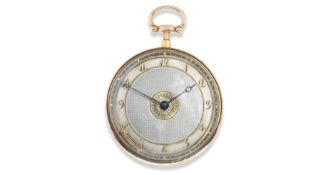 A continental gold and enamel key wind open face quarter repeating pocket watch