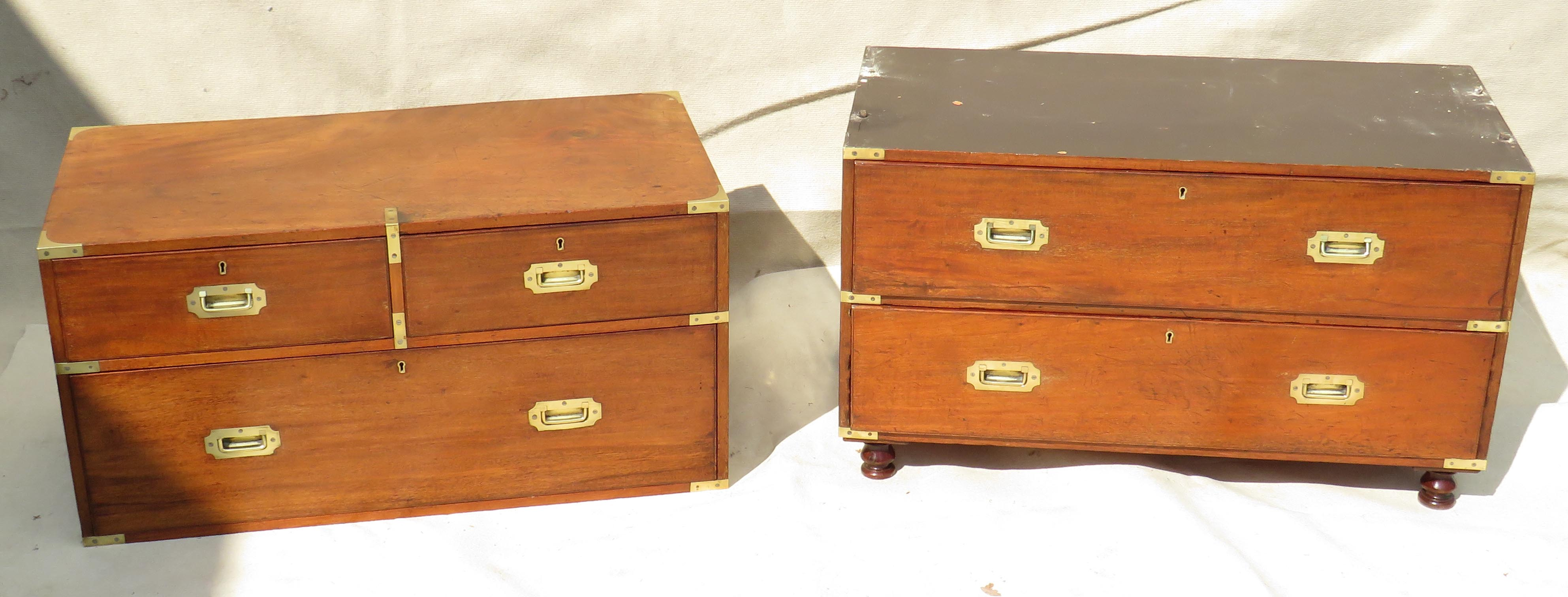 Lot 17 - 19th Century mahogany & camphor wood military campaign chest