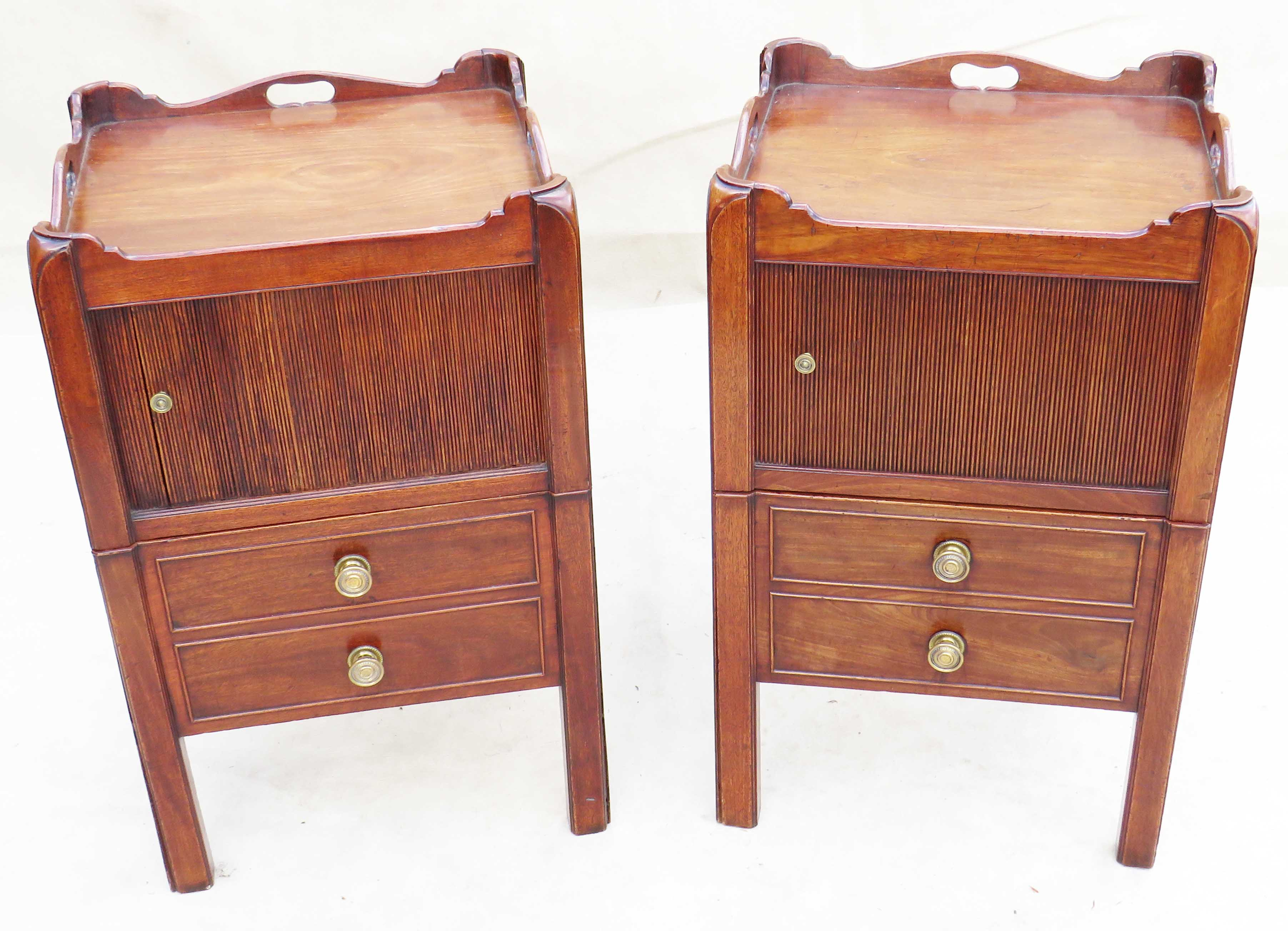 Lot 14 - Early 19th Century matched pair of tray top commodes, or bedside night tables