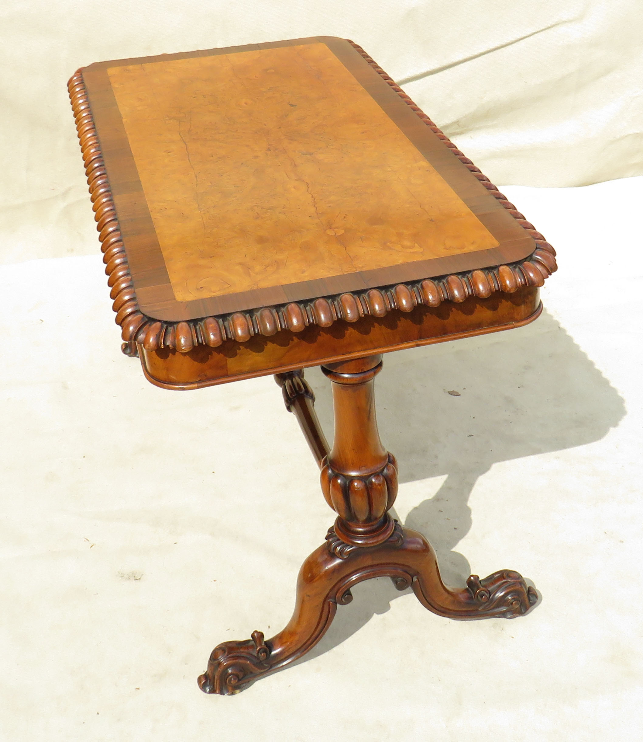 Lot 15 - Mid 19th Century walnut and burr elm library table