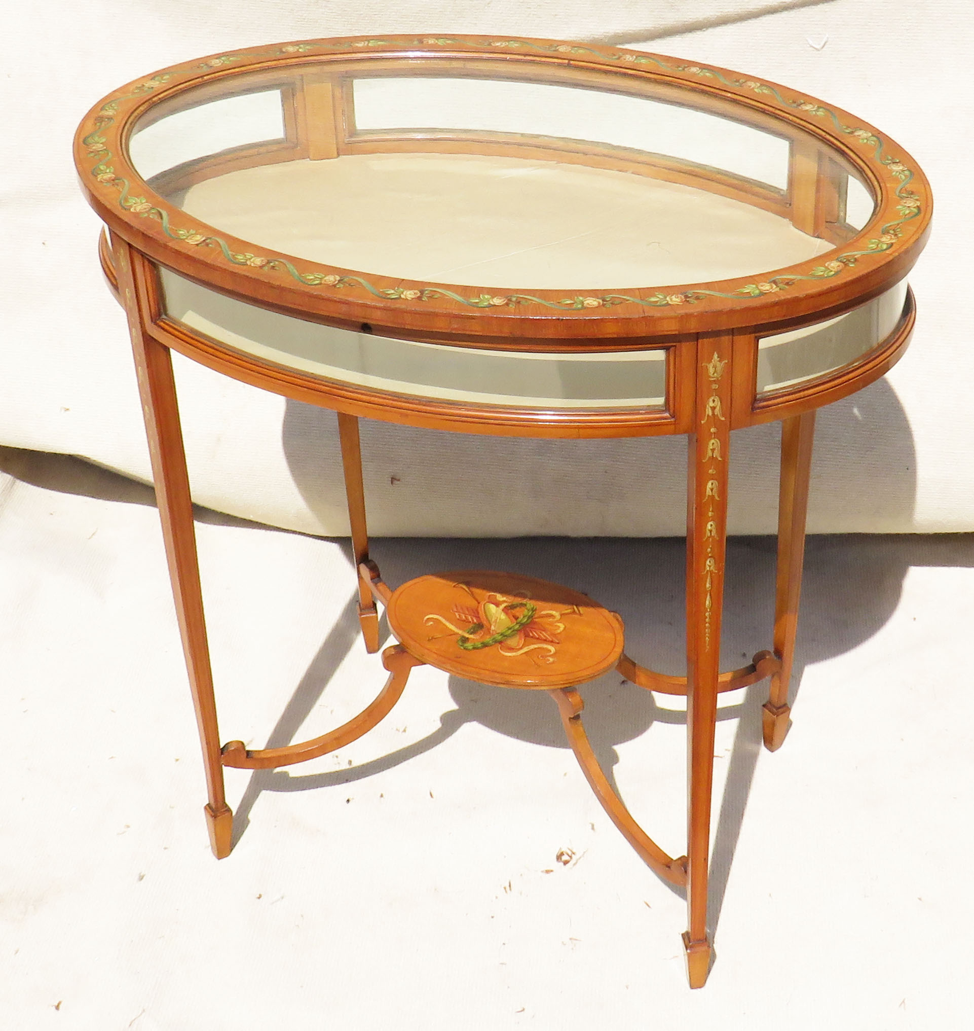 Lot 37 - Late 19th Century satinwood oval bijouterie display table with painted & polychrome decoration