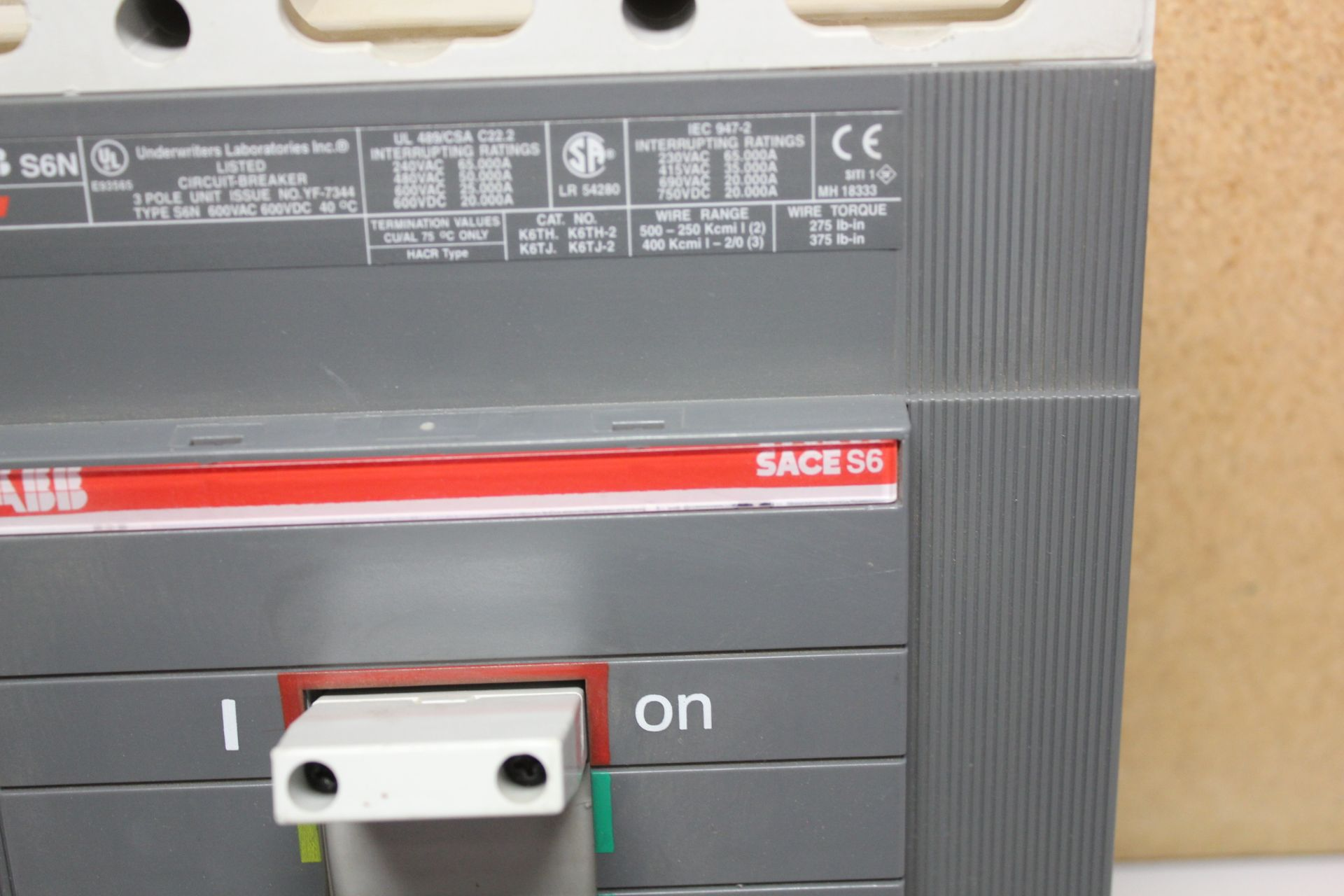 Lot 35 - ABB SACE S6 600A 600V CIRCUIT BREAKER
