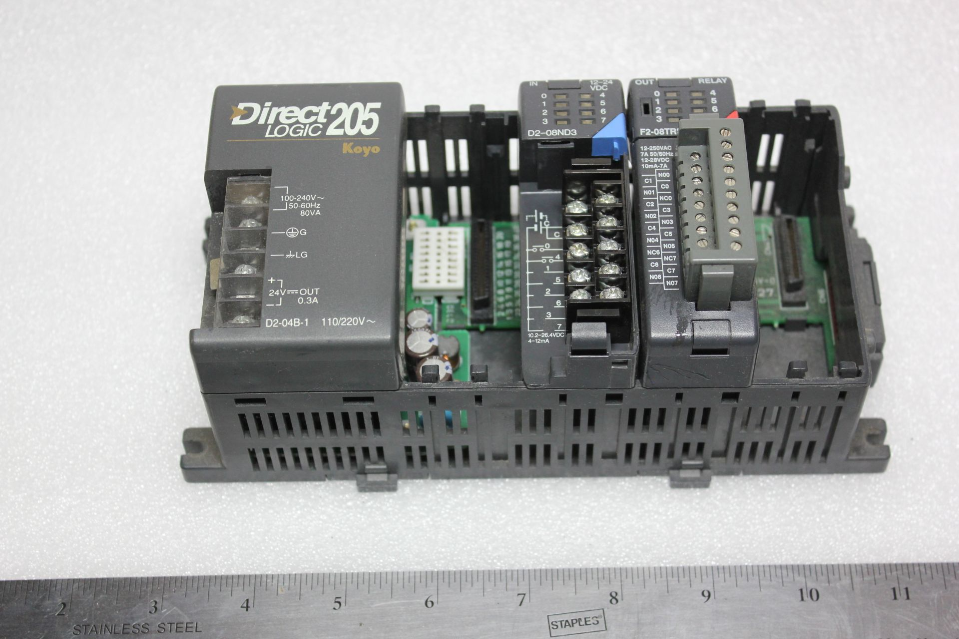Lot 10 - KOYO DIRECT LOGIC 205 PLC CHASSIS WITH MODULES