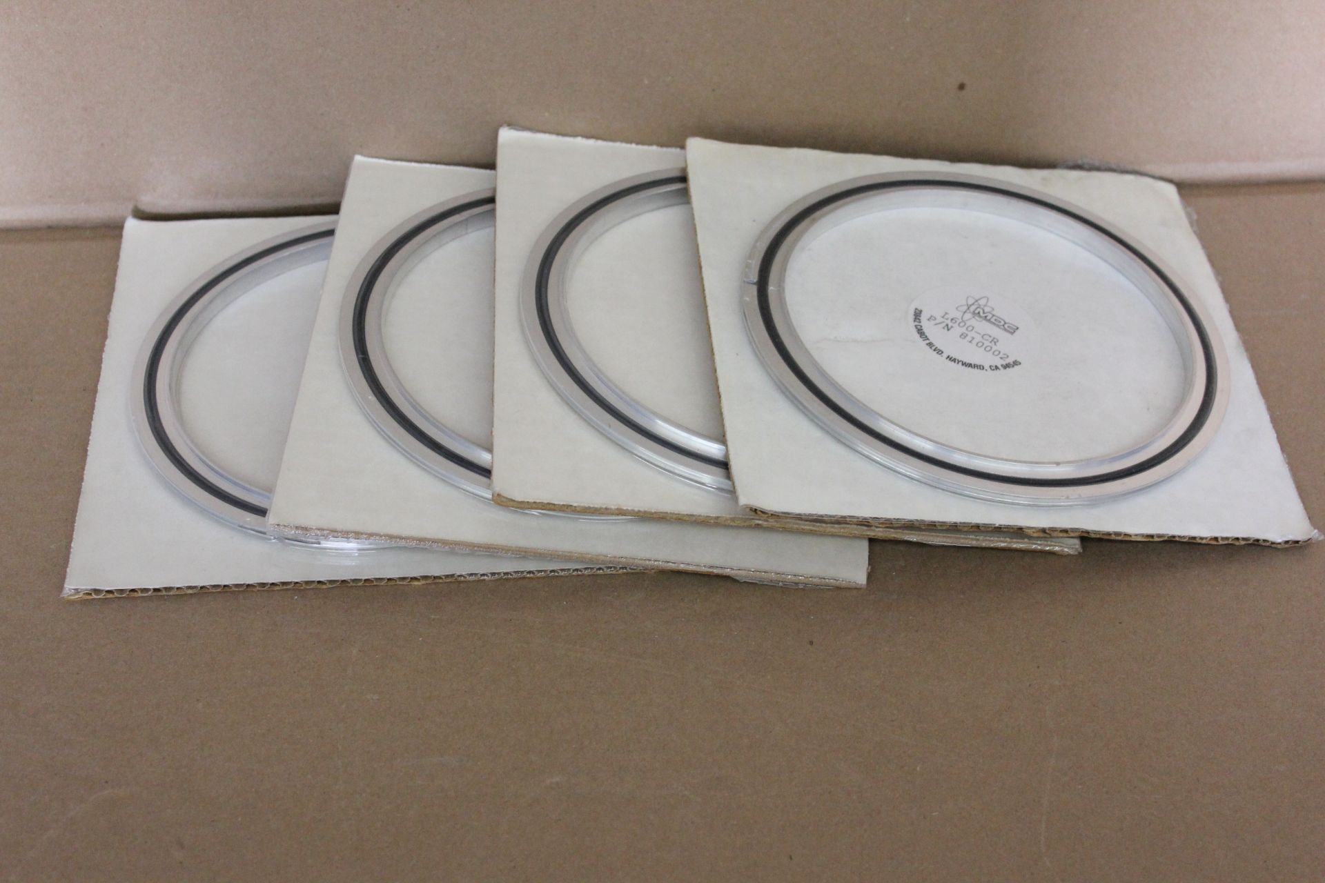 LOT OF 4 NEW MDC ALUMINIUM VACUUM FLANGE CENTERING RING