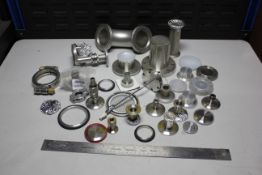 LOT OF HIGH VACUUM FITTINGS, FLANGES, CLAMPS, ETC