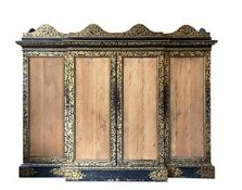 A breakfront Chinoiserie decorated export lacquer press cupboard circa 1840