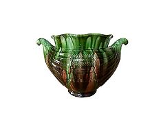Victorian green and brown glazed jardiniere after a design by Christopher Dresser