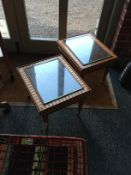 A pair of beechwood and mahogany rectangular low tables