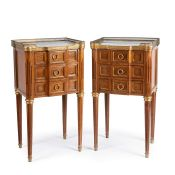 A pair of Louis XVI style mahogany and gilt metal mounted bedside commodes