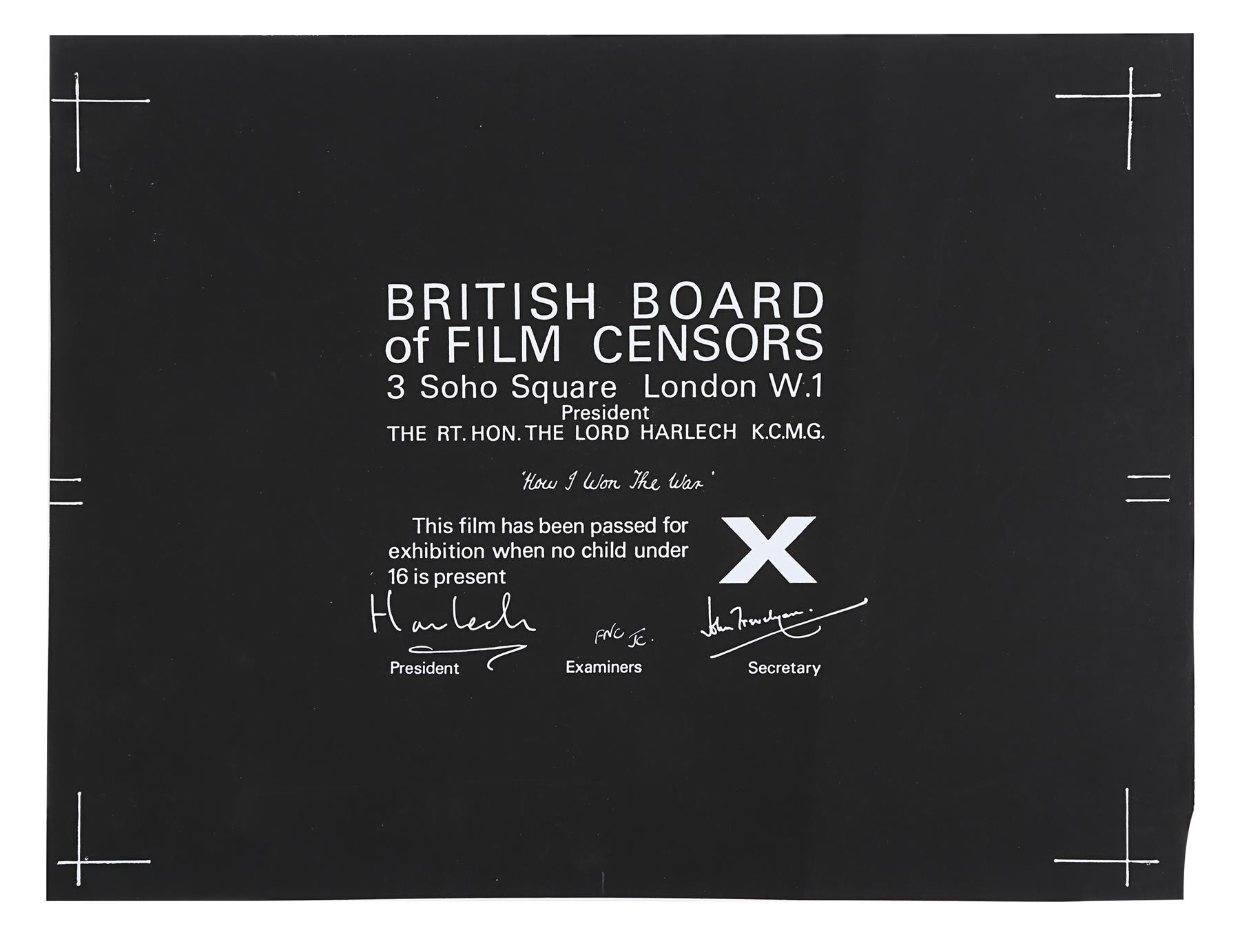 VARIOUS PRODUCTIONS - BBFC Certificates of British Classics - Image 3 of 6