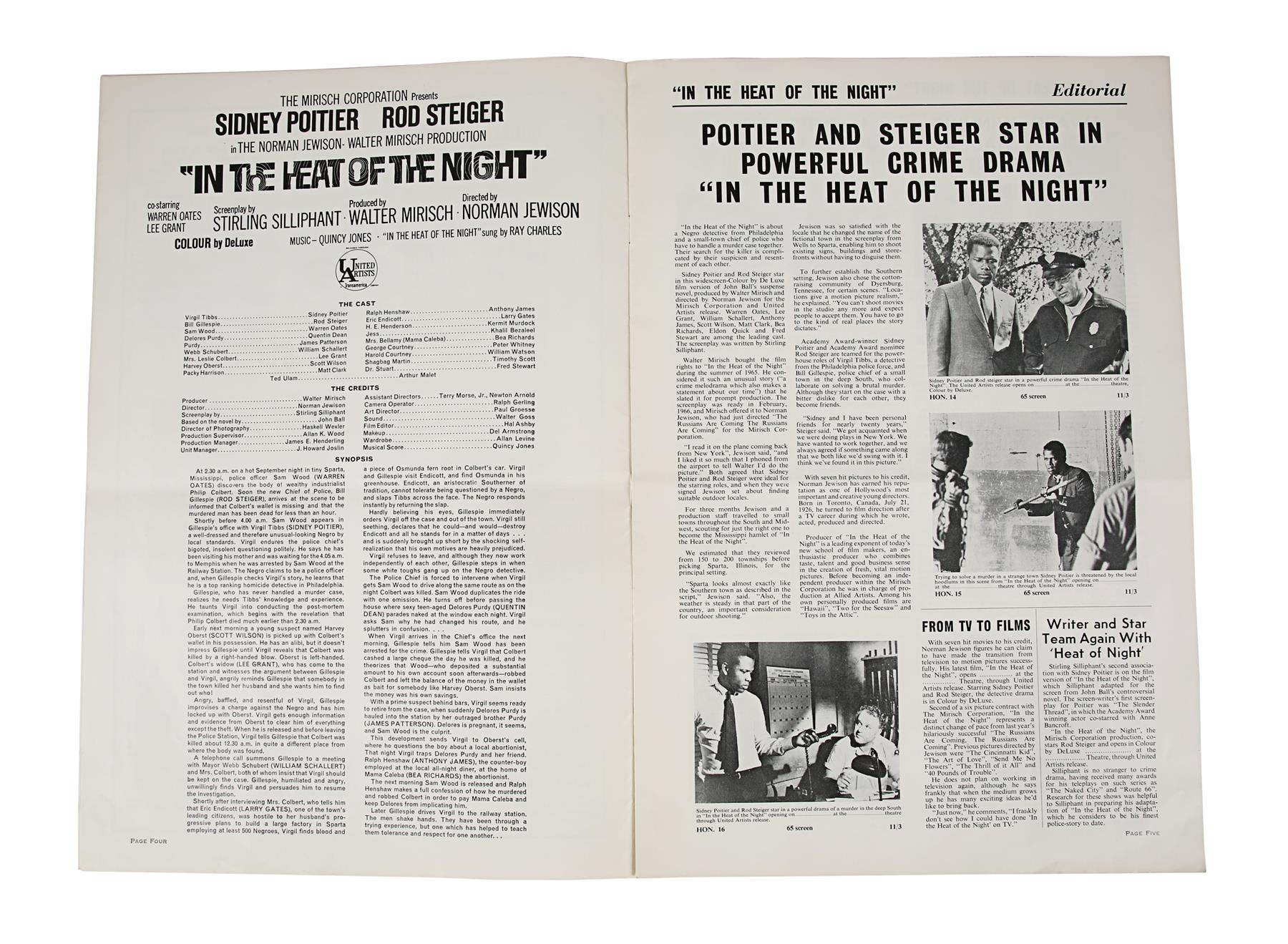 IN THE HEAT OF THE NIGHT (1967) - British Exhibitors' Campaign Book, 1967, Autographed by Sidney Poi - Image 3 of 6