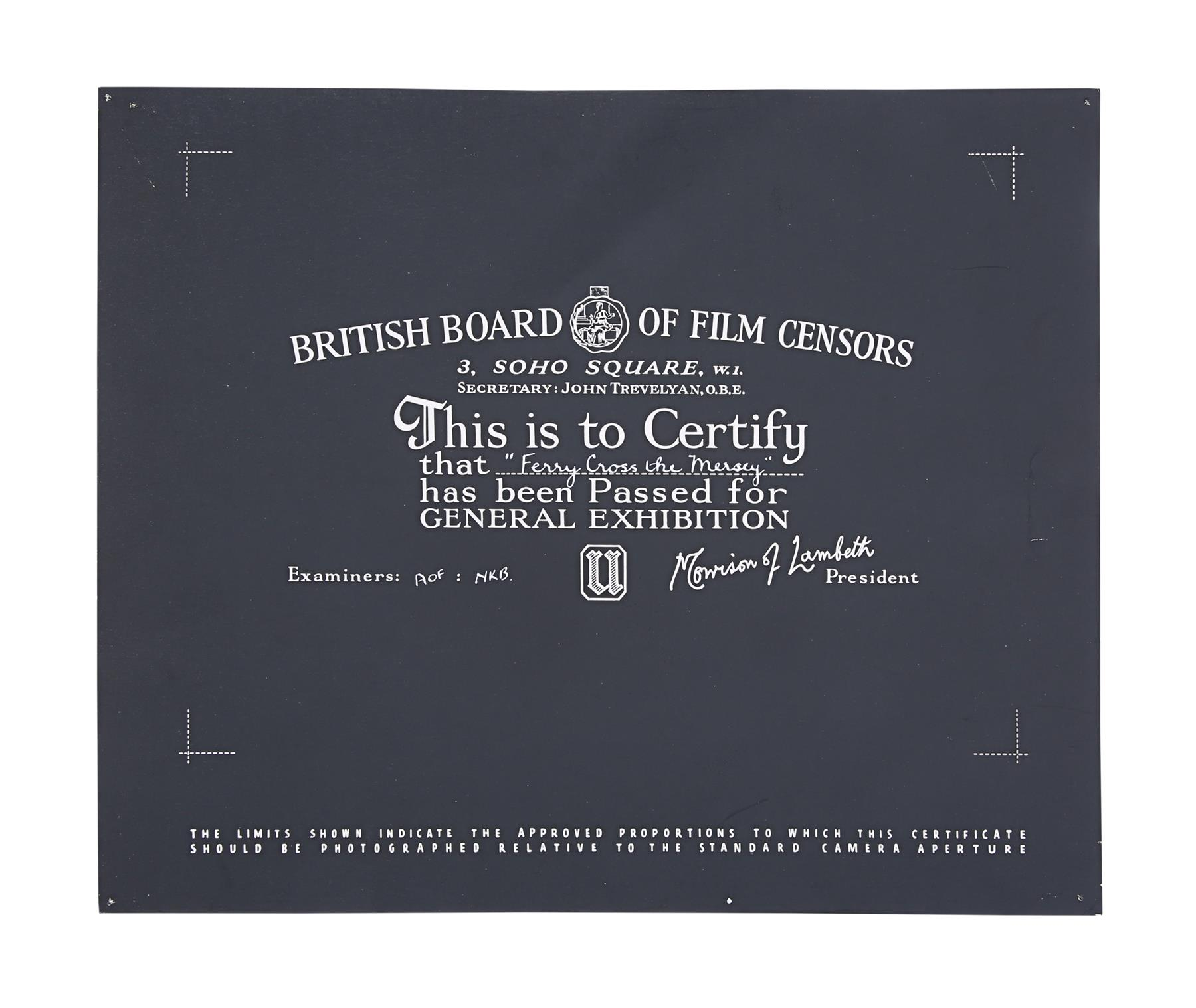 VARIOUS PRODUCTIONS - BBFC Certificates Musicals - Image 5 of 6
