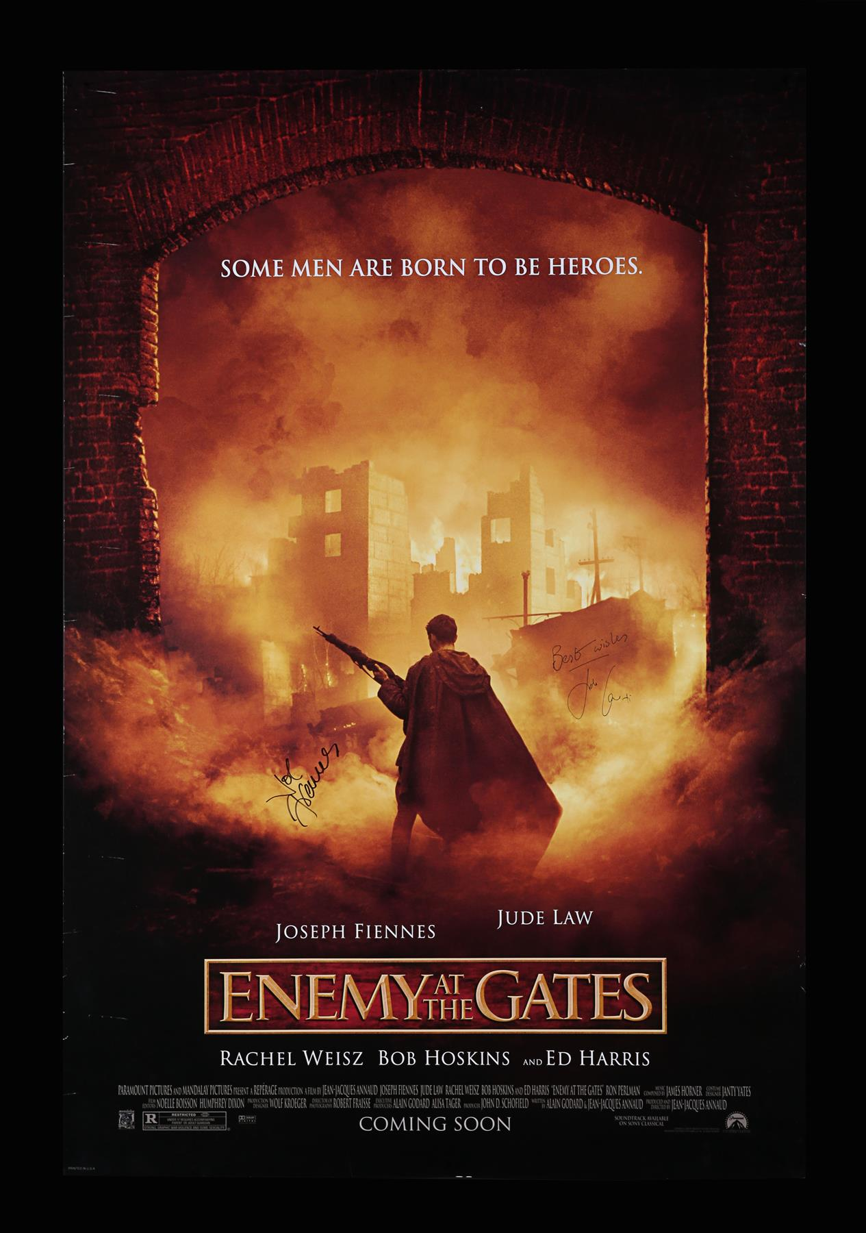 ENEMY AT THE GATES (2001) - US One-Sheet, 2001, Autographed by Jude Law and Joseph Fiennes